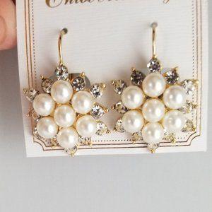 Faux Pearl & Rhinestone Goldtone Earrings
